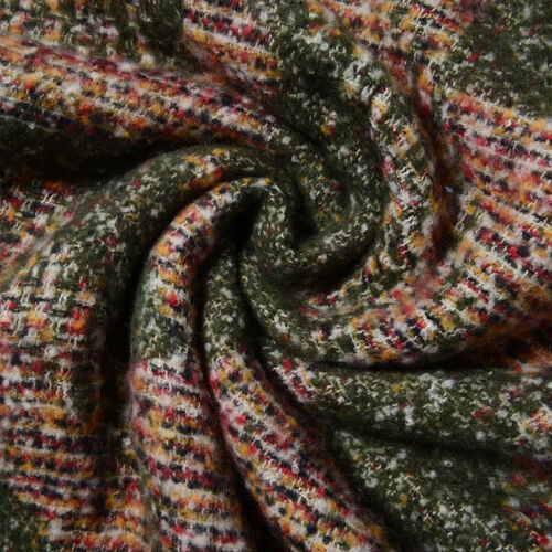 Dark Green Colour Abstract Pattern Scarf (Size 220x50 Cm)
