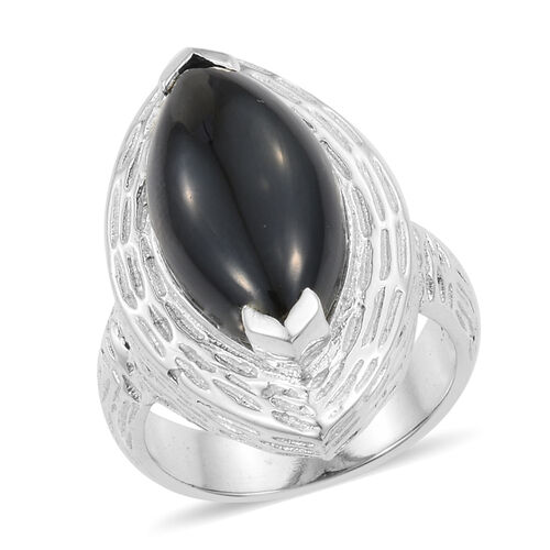 12.80 Ct Boi Ploi Black Spinel Solitaire Ring in Sterling Silver 6.74 Grams