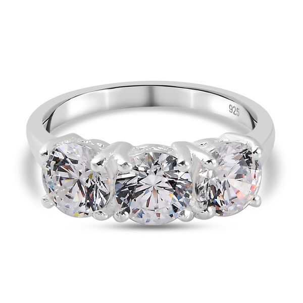 J Francis Made with Swarovski Zirconia 3 Stone Ring in Sterling Silver
