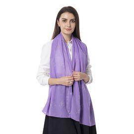 Purple Colour Floral Pattern Crystal Embellished Scarf (Size 80.01x 48.26 Cm)