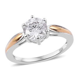 J Francis - Platinum and Yellow Gold Overlay Sterling Silver (Rnd 7 mm) Solitaire Ring Made with SWA