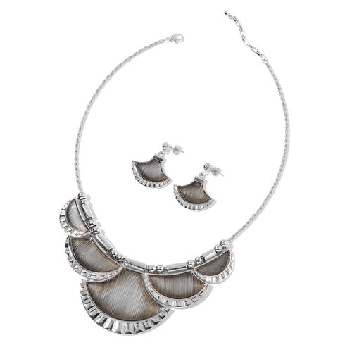 Simulated Grey Moonstone Necklace (Size 20 with 2 inch Extender) and Earrings (with Push Back) in Silver Tone with Stainless Steel