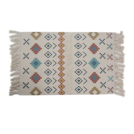 Turkish Style Pattern Tufted Rug with Tassel in Cream and Multi (Size 57x90cm)