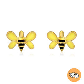 Bumblebee Stud Earrings for Children in 9K Yellow Gold