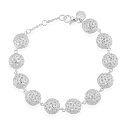 RACHEL GALLEY Rhodium Plated Sterling Silver Memento Disc Bracelet (Size 8), Silver wt 14.00 Gms.