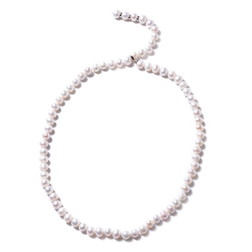 Freshwater Pearl Beaded Necklace in Rhodium Plated Sterling Silver 29 Inch Adjustable