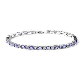 5.61 Ct Tanzanite and Zircon Tennis Bracelet in Rhodium Plated Silver 7.40 Grams 7 Inch
