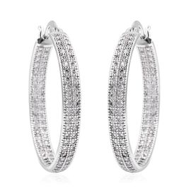 Simulated Diamond Hoop Earrings in Silver Tone