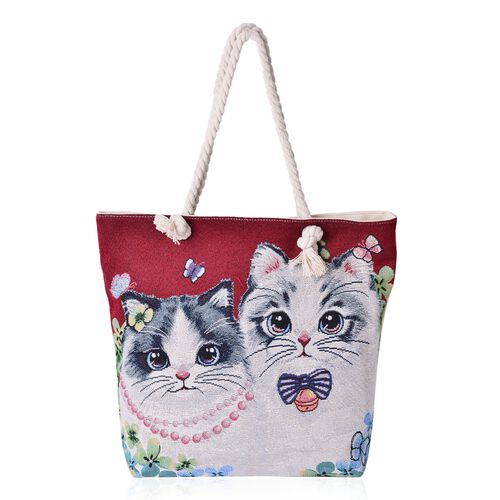 Designer Inspired-Red with Multi Colour Cat Pattern Tote Bag (Size 44x39x33x9.5 Cm)