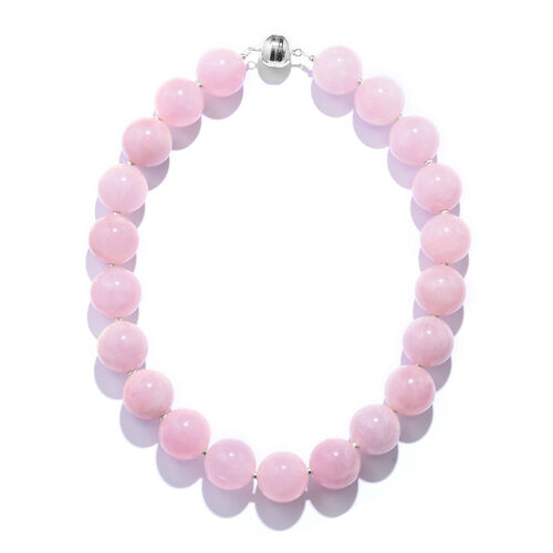 Extremely Rare Size Galilea Rose Quartz (Rnd 20mm) Necklace (Size 18) with Magnetic Clasp in Rhodium Plated Sterling Silver 1350.00 Ct.