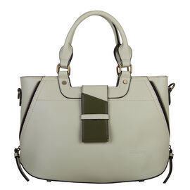 Bulaggi Collection - GOLDIE Handbag with Shoulder Strap and Zipper Closure (30x12x23cm) - Pastel Gre