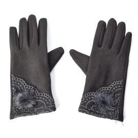 Solid Colour Women Winter Gloves with Lace and Faux Fur Ball on the Wrist (Size 8.9x22.9 Cm) - Dark