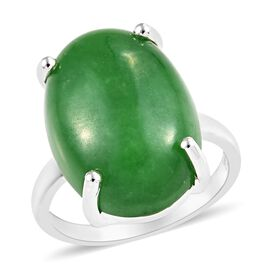 One Time Deal- Green Jade (Ovl 18x13 mm) Solitaire Ring (Size Q) in Sterling Silver 14.00 Ct.