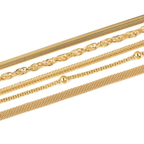 Set of 5 Stainless Steel Bismark, Foxtail, Snake, Singapore, Ball Station Chain Necklace (Size 20) in Yellow Plating