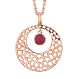 RACHEL GALLEY African Ruby (Rnd) Lattice Pendant with Chain (Size 30) in Rose Gold Overlay Sterling