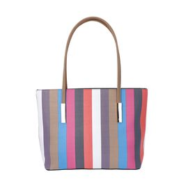 Classic Stripe Pattern Tote Bag with Zipper Closure and External Pocket (Size 32x11x26 Cm) - Beige a