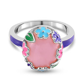 GP Italian Garden Leaf and Flower - Pink Opal and Blue Sapphire Enamelled Ring in Platinum Overlay S