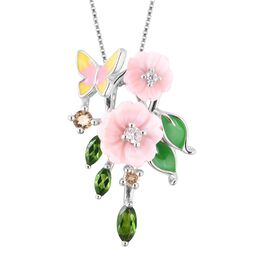 Jardin Collection - Pink Mother of Pearl, Russian Diopside, Citrine and Natural White Cambodian Zirc