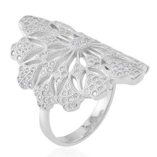Signature Collection ELANZA Simulated White Diamond (Rnd) Floral Ring in Rhodium Plated Sterling Silver, Silver wt. 7.85 Gms.