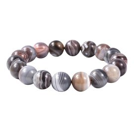 221.50 Ct Botswana Agate Stretchable Beaded Bracelet 7.5 Inch