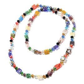 Simulated Multi Colour Gemstone and Multi Colour Murano Glass Beads Necklace (Size 47)