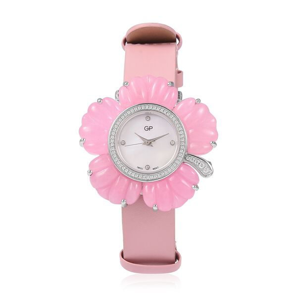 GP Swiss Movement Water Resistant Carved Pink Jade and Simulated Diamond Sterling Silver Watch with Extra Black Strap 64.00 Ct, Metal wt 24.00 Gms