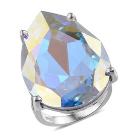 J Francis AB Crystal from Swarovski Solitaire Ring in Platinum Plated Sterling Silver 6 Grams