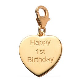 14K Gold Overlay Sterling Silver Happy 1st Birthday Charm