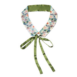 Flower Pattern 100% Mulberry Silk Satin Belt (Size 260 Cm) - Green and White