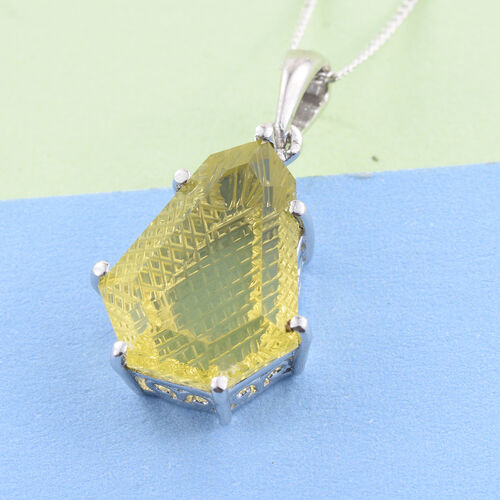 Premium Laser Cut Natural Green Gold Quartz Solitaire Pendant with Chain in Platinum Overlay Sterling Silver 7.250 Ct.