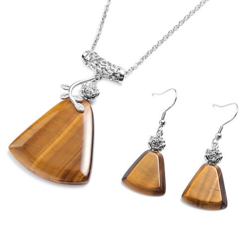 2 Piece Set - Yellow Tiger Eye Hook Earrings and Pendant with Chain (Size 20 with 2 inch Extender) i