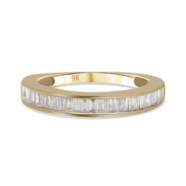 9K Yellow Gold and White SGL Certified Diamond (I3/G-H) Band Ring