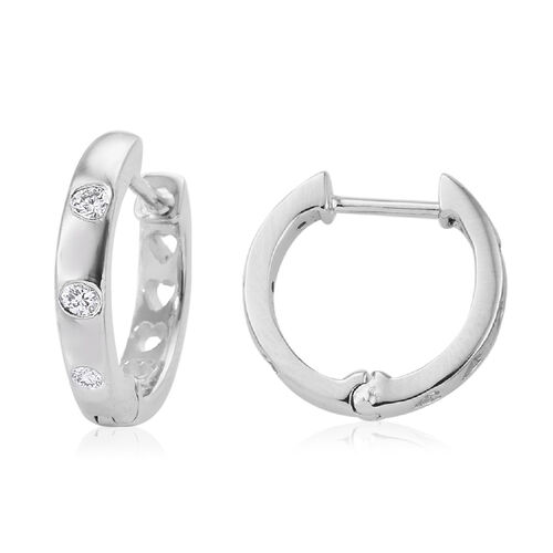 RHAPSODY 950 Platinum IGI Certified Diamond (Rnd) (VS / E-F) Hoop Earrings 0.20 Ct.