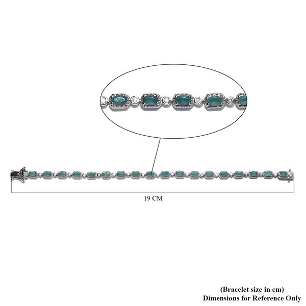 Grandidierite ,Natural Cambodian Zircon Bracelet (Size - 7.5) in Platinum Overlay Sterling Silver 5.00 Ct, Silver Wt. 11.40 Gms