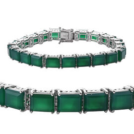 48.2 Ct Verde Onyx Tennis Bracelet in Platinum Plated Sterling Silver 17 Grams 8 Inch