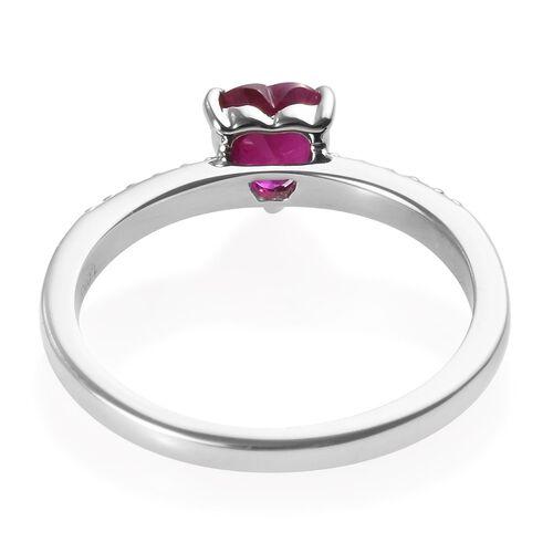 2 Piece Set - RHAPSODY 950 Platinum AAAA Burmese Ruby (Hrt), Diamond (VS/E-F) Ring 1.10 Ct, Platinum wt 8.40 Gms