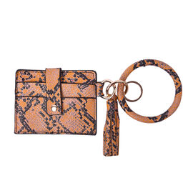 """Sencillez"" yellow snake print Genuine Leather Key Chain 11.5x9cm, card solt-2, zipped-1"