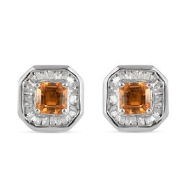 Orange Sapphire and Diamond Stud Earrings (with Push Back) in Platinum Overlay Sterling Silver 1.22