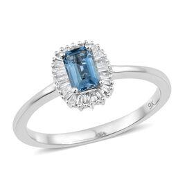 Limited Available-9K White Gold AA Santa Maria Aquamarine (Oct), Diamond Ring 0.750 Ct.