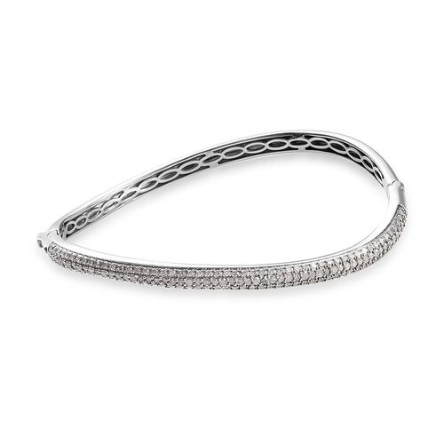 GP 2.02 Ct Diamond and Blue Sapphire Wave Design Bangle in Platinum Plated Silver 7.5 Inch