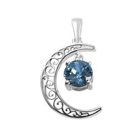 J Francis Aquamarine Colour Crystal from Swarovski Crescent Moon Pendant in Sterling Silver