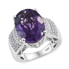 Canela Amethyst (Ovl 16x12 mm), Natural Cambodian Zircon Ring in  Platinum Overlay Sterling Silver 8