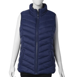 Solid Navy Insulated Women Vest
