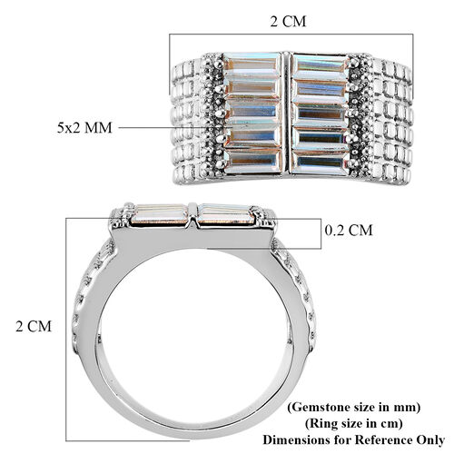 J Francis Crystal from Swarovski AB Crystal Signet Ring in Stainless Steel