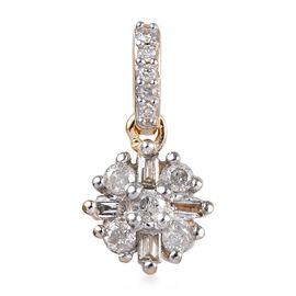 Natural White Diamond Starburst Floral Pendant in 9K Yellow Gold