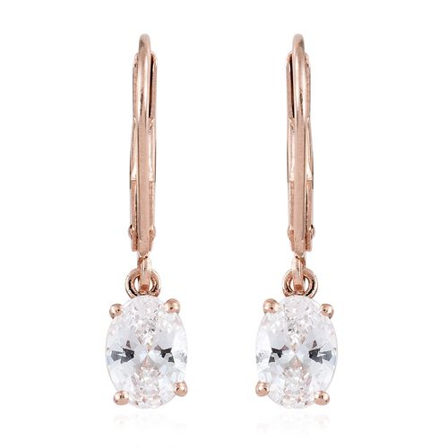 J Franics - Rose Gold Overlay Sterling Silver (Ovl) Lever Back Earrings Made with SWAROVSKI  ZIRCONIA