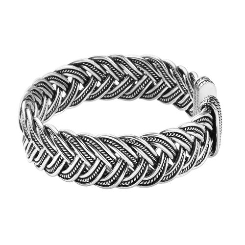 Handmade Crafted Braided Cuff Bangle (Size 7.5) in Sterling Silver, Silver wt 64.43 Gms