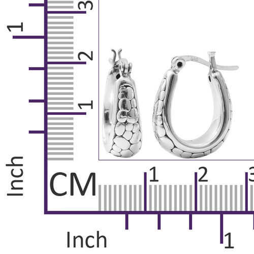 Rhodium Overlay Sterling Silver Hoop Earrings (with Clasp), Silver wt 5.45 Gms.