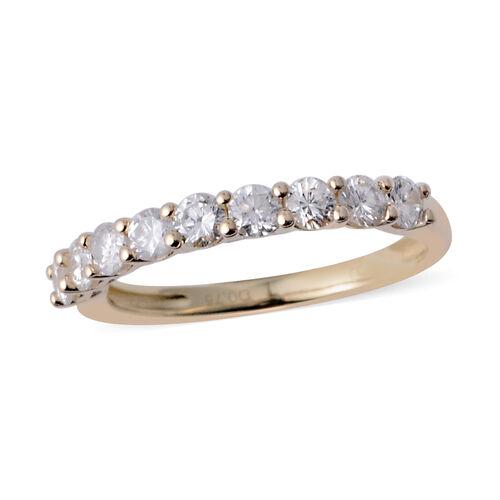 New York Close Out - 14K Yellow Gold (I1-I2/G-H) Diamond (Rnd) Half Eternity Band Ring 0.750 Ct. Rin