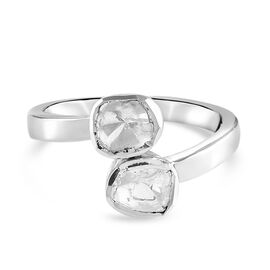 Artisan Crafted Polki Diamond Bypass Ring in Platinum Overlay Sterling Silver 0.55 Ct.